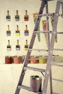 paint brushes and ladders